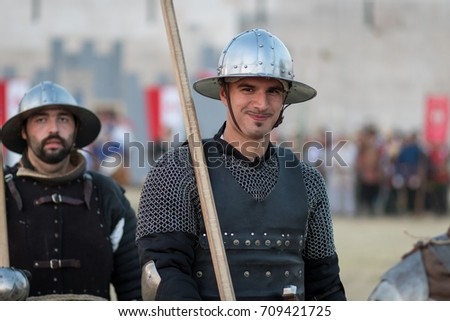 VRANA, CROATIA - AUGUST 18, 2017: Days of knights of Vrana. Knight with the spear, close up