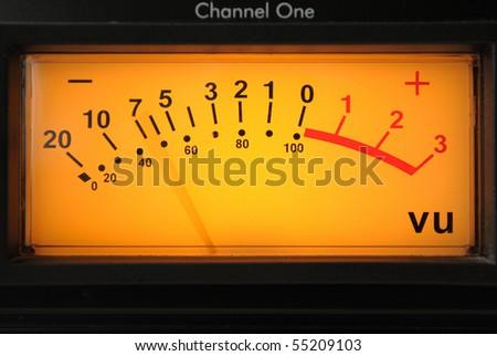 VU Meter on audio equipment. - stock photo