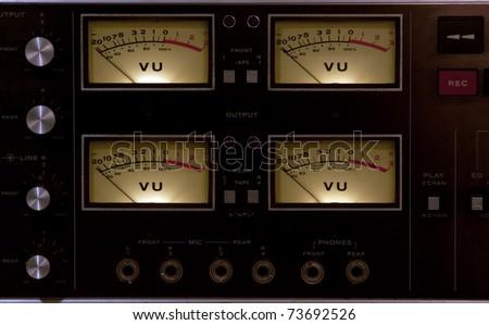 vu meter recording studio volume button - stock photo