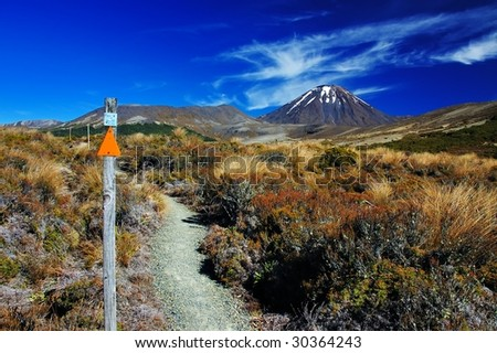 Vulcano Ngauruhoe in Tongariro NP, New Zealand - stock photo