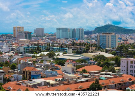 VUNG TAU, VIETNAM - NOVEMBER 6, 2015: A bird eye view on the town center. Vung Tau is a maritime resort in the southern Vietnam popular among Ho Chi Minh city residents.