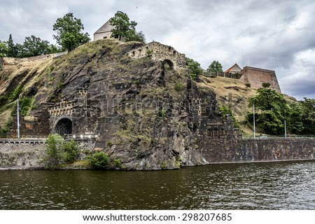 Vysehrad - historical fort located in the city of Prague, Czech Republic. It was probably built in the 10th century, on a hill over the Vltava River.