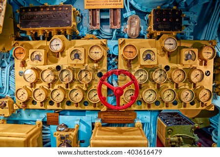VYTEGRA, RUSSIA - circa AUGUST 2015: Interior of Russian Nuclear Diesel-Electric Submarine B-440 (Foxtrot) anchored in Vytegra Submarine Museum - stock photo