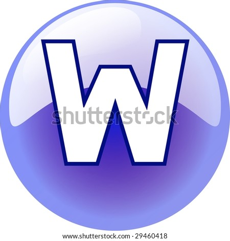 W character - blue 3d alphabet button - stock photo