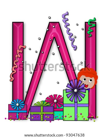 """W, in the alphabet set """"Birthday Letters"""", is surrounded by colorfully wrapped presents complete with bows.  Woman hides behind presents and peeks out pretending surprise. - stock photo"""