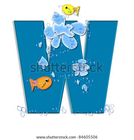 """W, in the alphabet set """"Splish Splash"""", two colorful fish are swimming in water drops and waves splashing.  Letters are blue. - stock photo"""