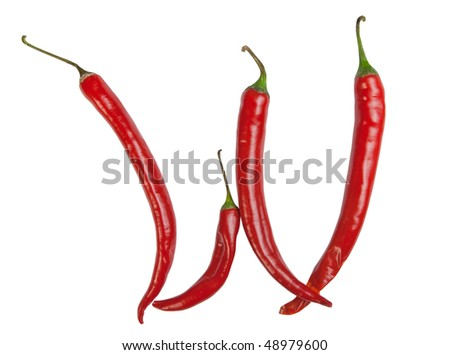 w letter made from chili, with clipping path