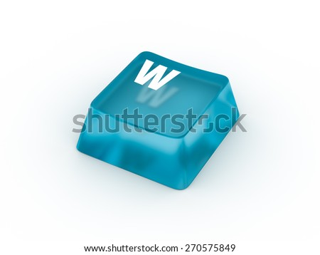 W Letter on transparent blue keyboard button - stock photo