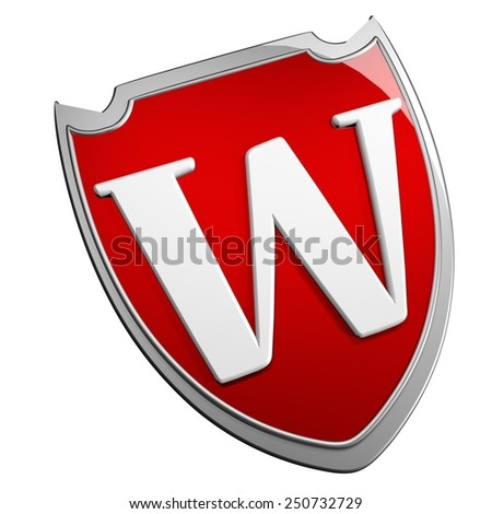 W Shield isolated over white, 3d render - stock photo