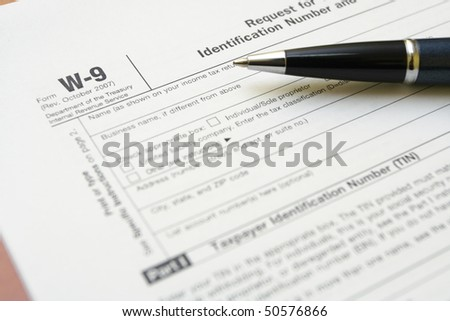 W-9 tax form as a business concept with requesting for TIN