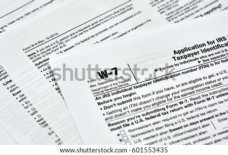 W7 Usa Federal Tax Form Stock Photo 601553435 - Shutterstock