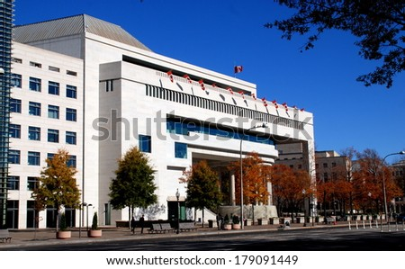 WAASHINGTON, DC - NOV17, 2012:  The Canadian Embassy at 501 Pennsylvania Avenue NW designed by Vancouver architect Arthur Erickson - stock photo