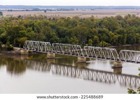 Wabash Bridge, lift bridge over Mississippi River at Hannibal, Missouri - stock photo