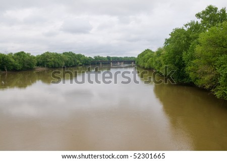 Wabash River on an overcast day, Terre Haute, Indiana - stock photo