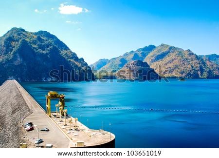Wachiralongkorn dam, Kanchanaburi,Thailand - stock photo