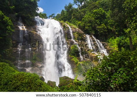 Wachirathan Falls are waterfalls in the Chom Thong district in the province of Chiang Mai, Thailand., Doi Inthanon National Park