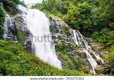Wachirathan waterfall : waterfall in doi inthanon national park, Chiang mai,Thailand. - stock photo