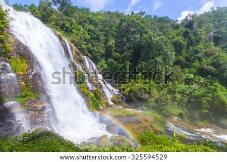 Wachiratharn Waterfall in Chiang Mai Thailand - stock photo