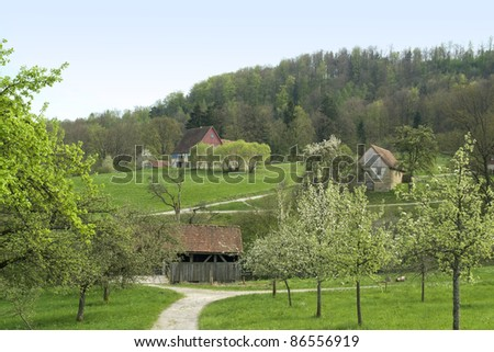 Wackershofen at s pring time in Hohenlohe (Southern Germany) - stock photo