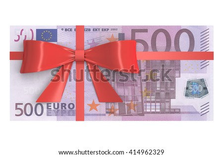 Wad of 500 Euro banknotes with red bow, gift concept. 3D rendering - stock photo