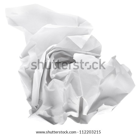 wad of paper isolated on white background - stock photo