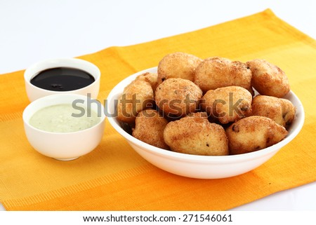 wada with chutney or dips - stock photo