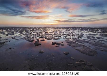 Wadden coast twilight - stock photo