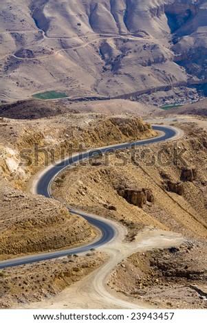 Wadi Mujib - King 's road area, curvy highway with desert landscape in Jordan. - stock photo