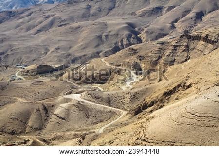Wadi Mujib - King 's road area, desert highway landscape in Jordan. Small roads around - stock photo