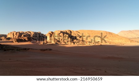 Wadi Rum also known as The Valley of the Moon. It is a valley cut into the sandstone and granite rock in southern Jordan 60 km to the east of Aqaba; it is the largest wadi in Jordan.