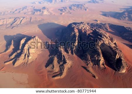 Wadi Rum Desert beautiful landscape from above. Jordan. - stock photo