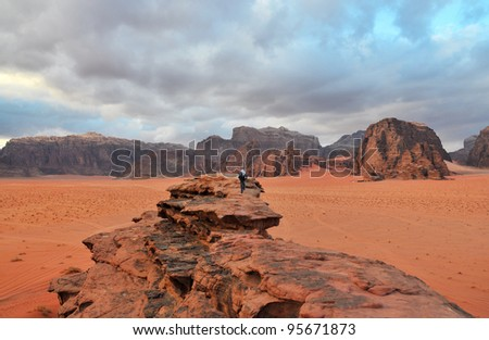 Wadi Rum in Winter, Southern Jordan - stock photo