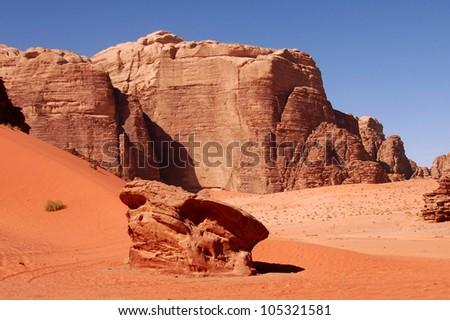 Wadi Rum, Jordan desert landscape. - stock photo