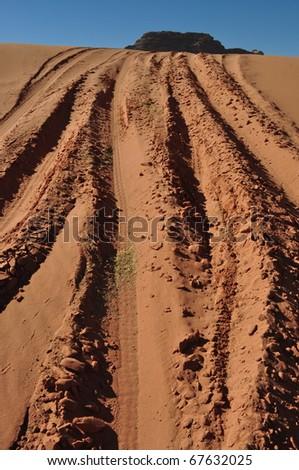 Wadi Rum 4X4 Driving in Desert Sand Dunes - stock photo