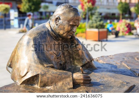Wadowice, Poland - September 07, 2014: Sculpture of Pope John Paul II in the city center of Wadowice, the place of birth of Pope John Paul II - stock photo
