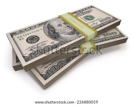 Wads of one hundred dollars notes. Clipping path included. - stock photo