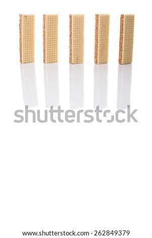 Wafer bar biscuit over white background - stock photo