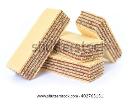 wafer chocolate dessert on white background - stock photo