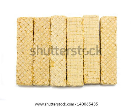 wafer cookies on a white background - stock photo