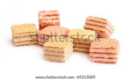 Wafer cubes over white background - stock photo