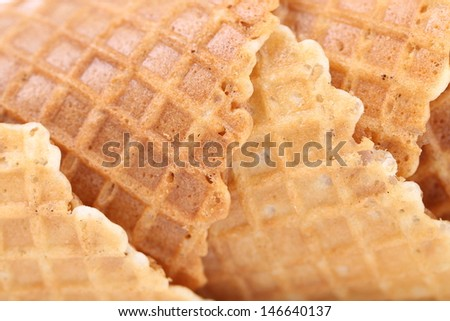 Wafer cup for ice-cream. Close up.