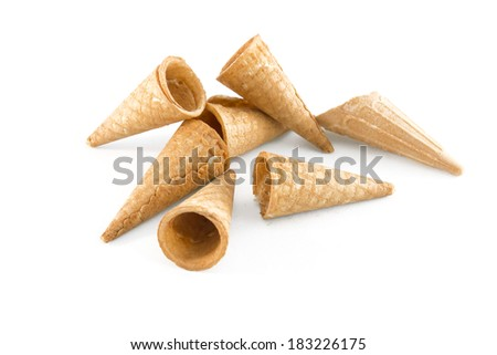 Wafer cup for ice cream isolated on white background