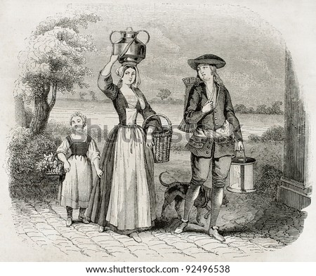 Wafers merchant old illustration. After 17th century old print, published on Magasin Pittoresque, Paris, 1845 - stock photo