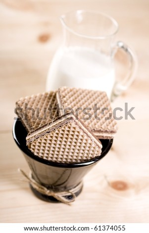 Wafers with cacao cream and nuts