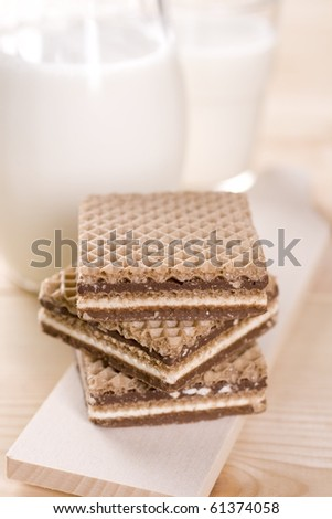 Wafers with cacao cream and nuts - stock photo
