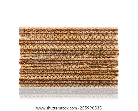 Wafers with chocolate isolated on white background. - stock photo