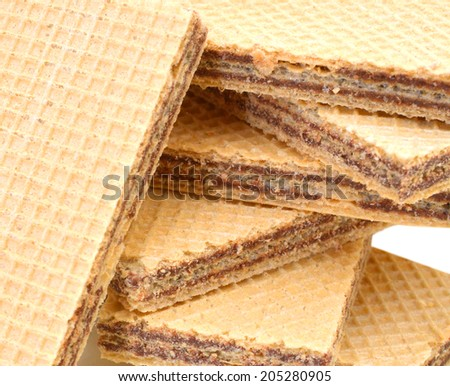 Wafers with chocolate on  background  - stock photo