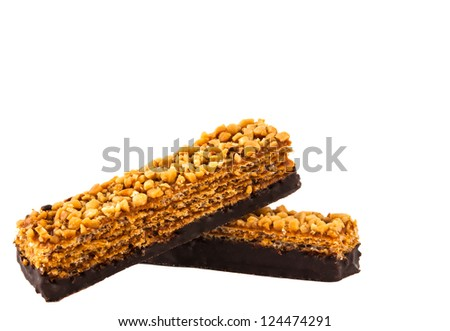 Wafers with nuts on a white background