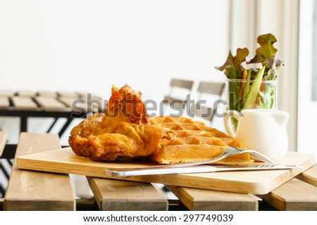 waffle and fried chicken