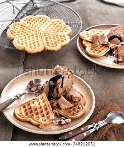 waffle chocolate coconut ice cream, belgium waffle, home made - stock photo